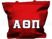Alpha Theta Pi Tote Bag with Greek Letters, Red