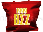 Beta Sigma Zeta Tote Bag with Greek Letters and Founding Year, Red