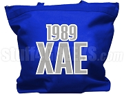 Chi Alpha Epsilon Tote Bag with Greek Letters and Founding Year, Royal Blue