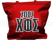 Chi Phi Sigma Tote Bag with Greek Letters and Founding Year, Red