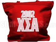 Chi Sigma Alpha Tote Bag with Greek Letters and Founding Year, Red