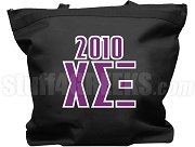 Chi Sigma Xi Tote Bag with Greek Letters and Founding Year, Black