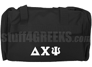 Delta Chi Psi Duffel Bag with Greek Letters, Black