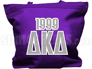 Delta Kappa Delta Tote Bag with Greek Letters and Founding Year, Purple