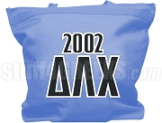 Delta Lambda Chi Tote Bag with Greek Letters and Founding Year, Baby Blue