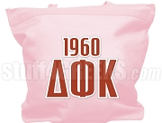 Delta Phi Kappa Tote Bag with Greek Letters and Founding Year, Pink