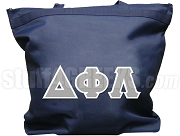 Delta Phi Lambda Tote Bag with Greek Letters, Navy Blue