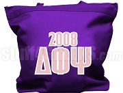 Delta Phi Psi Tote Bag with Greek Letters and Founding Year, Purple