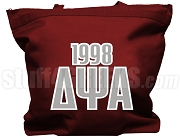 Delta Psi Alpha Tote Bag with Greek Letters and Founding Year, Maroon