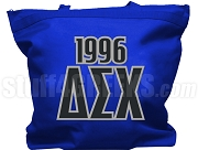 Delta Sigma Chi Tote Bag with Greek Letters and Founding Year, Royal Blue