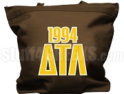 Delta Tau Lambda Tote Bag with Greek Letters and Founding Year, Brown