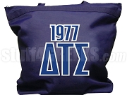Delta Tau Sigma Tote Bag with Greek Letters and Founding Year, Navy Blue