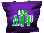 Delta Theta Psi Tote Bag with Greek Letters and Founding Year, Purple