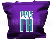 Gamma Eta Tote Bag with Greek Letters and Founding Year, Purple
