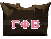 Gamma Phi Beta Tote Bag with Greek Letters, Brown