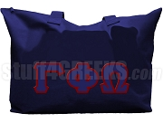 Gamma Phi Omega Sorority Tote Bag with Greek Letters, Navy Blue