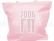 Gamma Pi Tote Bag with Greek Letters and Founding Year, Pink