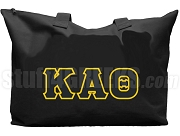 Kappa Alpha Theta Tote Bag with Greek Letters, Black