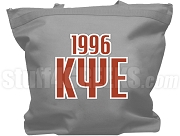Kappa Psi Epsilon Tote Bag with Greek Letters and Founding Year, Gray