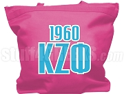 Kappa Zeta Phi Tote Bag with Greek Letters and Founding Year, Magenta