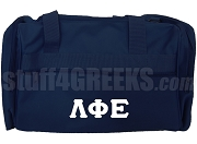 Lambda Phi Epsilon Duffel Bag with Greek Letters, Navy Blue