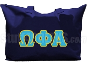 Omega Phi Alpha Tote Bag with Greek Letters, Navy Blue