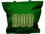 Omega Phi Beta Tote Bag with Greek Letters, Forest Green