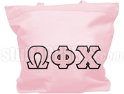 Omega Phi Chi Tote Bag with Greek Letters, Pink