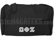 Omega Phi Zeta Greek Letter Duffel Bag, Black
