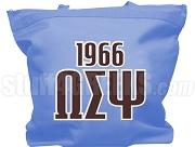 Omega Sigma Psi Tote Bag with Greek Letters and Founding Year, Powder Blue