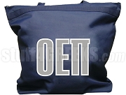 Omicron Epsilon Pi Tote Bag with Greek Letters, Navy Blue