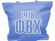 Phi Beta Chi Tote Bag with Greek Letters and Founding Year, Azure Blue