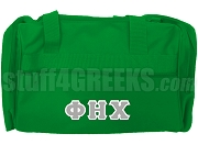 Phi Eta Chi Greek Letter Duffel Bag, Kelly Green