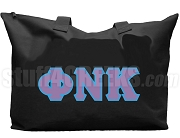 Phi Nu Kappa Tote Bag with Greek Letters, Black