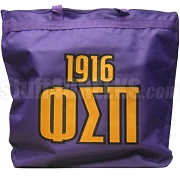 Phi Sigma Pi Tote Bag with Greek Letters and Founding Year, Purple