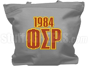 Phi Sigma Rho Tote Bag with Greek Letters and Founding Year, Gray