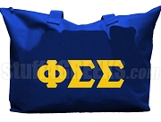 Phi Sigma Sigma Tote Bag with Greek Letters, Royal Blue