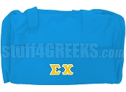 Sigma Chi Greek Letter Duffel Bag, Sky Blue