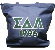 Sigma Delta Lambda Tote Bag with Greek Letters and Founding Year, Navy Blue
