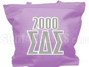 Sigma Delta Sigma Tote Bag with Greek Letters and Founding Year, Lavender
