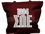 Sigma Omega Epsilon Tote Bag with Greek Letters and Founding Year, Burgundy
