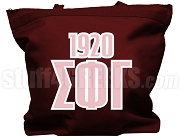 Sigma Phi Gamma Tote Bag with Greek Letters and Founding Year, Maroon