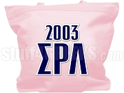 Sigma Rho Lambda Sorority Tote Bag with Greek Letters and Founding Year, Pink