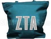 Zeta Tau Alpha Tote Bag with Greek Letters, Turquoise