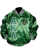 Kelly Green Alpha Kappa Alpha Nylon Oxford Baseball Jacket with Pink Stripes [461-S261]
