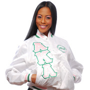 White AKA First and Finest Baseball Jacket with Triple-Layered Letters