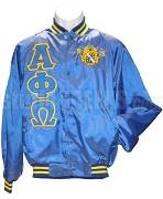 Alpha Phi Omega Greek Letter Satin Baseball Jacket with Founding Year Crest, Royal Blue