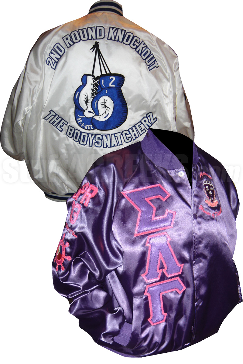 29c748a6 Custom Greek Satin Baseball Jacket. Base price includes letters and crest.