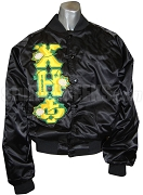 Chi Eta Phi Baseball Jacket with Flowers Thru Greek Letters, Black