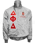 Delta Phi Delta Greek Letter Satin Baseball Jacket with Organization Name and Crest, Gray